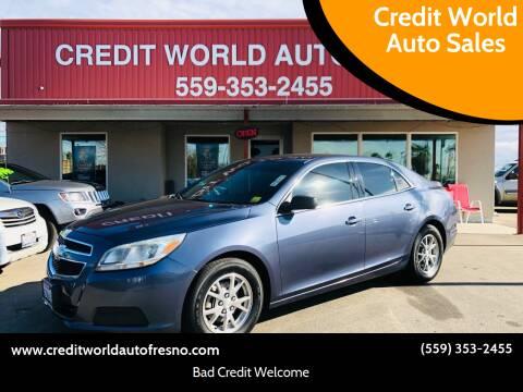 2013 Chevrolet Malibu for sale at Credit World Auto Sales in Fresno CA