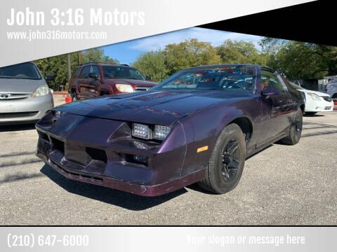 1986 Chevrolet Camaro for sale at John 3:16 Motors in San Antonio TX