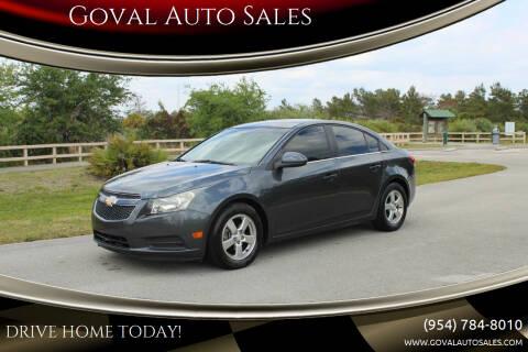 2013 Chevrolet Cruze for sale at Goval Auto Sales in Pompano Beach FL