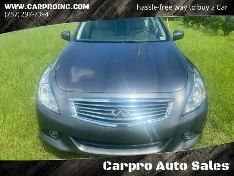 2015 Infiniti Q40 for sale at Carpro Auto Sales in Chesapeake VA