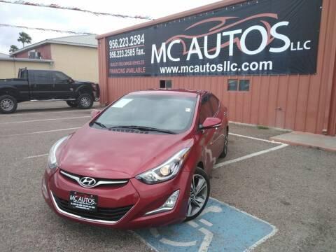 2015 Hyundai Elantra for sale at MC Autos LLC in Pharr TX
