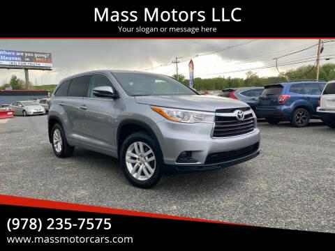 2014 Toyota Highlander for sale at Mass Motors LLC in Worcester MA