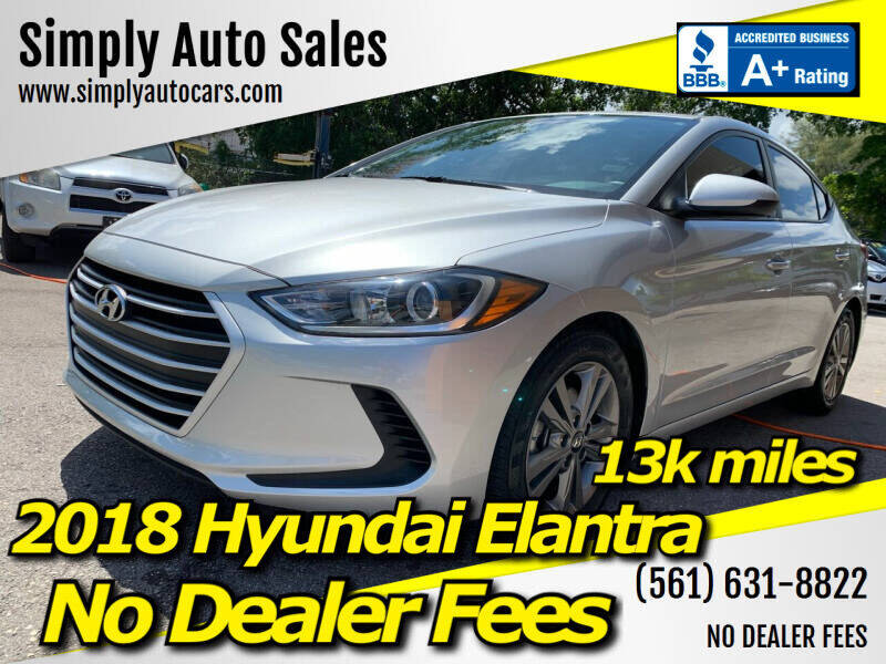 2018 Hyundai Elantra for sale at Simply Auto Sales in Palm Beach Gardens FL