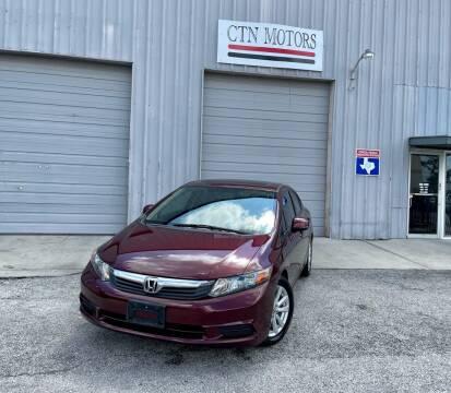 2012 Honda Civic for sale at CTN MOTORS in Houston TX