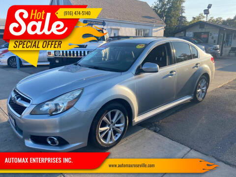 2013 Subaru Legacy for sale at AUTOMAX ENTERPRISES INC. in Roseville CA