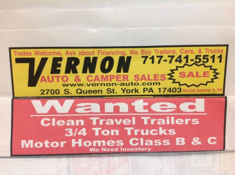2012 Various Travel trailers. Motor Homes for sale at Vernon Auto and Camper Sales in York PA