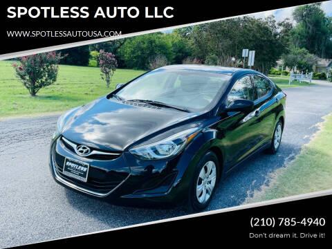 2016 Hyundai Elantra for sale at SPOTLESS AUTO LLC in San Antonio TX