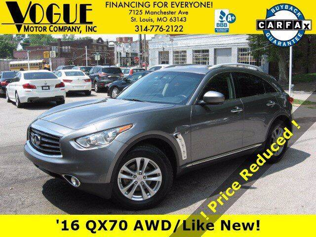 2016 Infiniti QX70 for sale at Vogue Motor Company Inc in Saint Louis MO