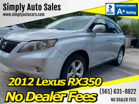 2012 Lexus RX 350 for sale at Simply Auto Sales in Palm Beach Gardens FL