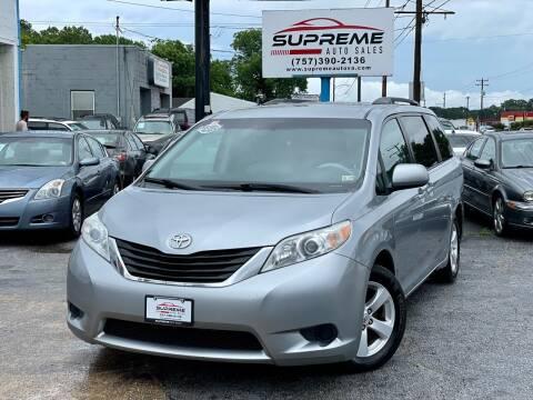 2011 Toyota Sienna for sale at Supreme Auto Sales in Chesapeake VA