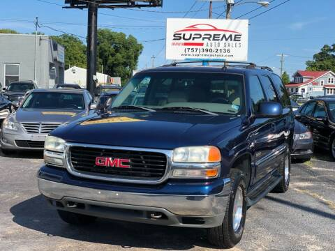 2002 GMC Yukon for sale at Supreme Auto Sales in Chesapeake VA