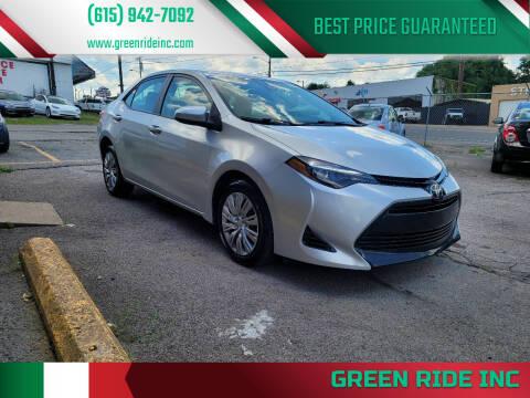 2017 Toyota Corolla for sale at Green Ride Inc in Nashville TN