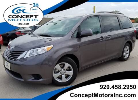 2015 Toyota Sienna for sale at CONCEPT MOTORS INC in Sheboygan WI