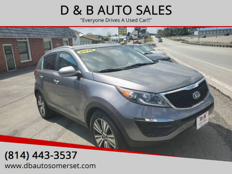 2016 Kia Sportage for sale at D & B AUTO SALES in Somerset PA