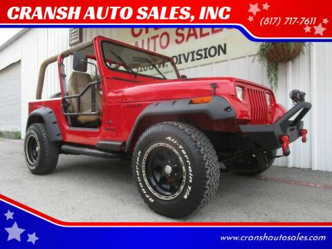 1995 Jeep Wrangler for sale at CRANSH AUTO SALES, INC in Arlington TX