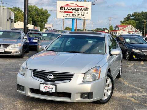 2008 Nissan Maxima for sale at Supreme Auto Sales in Chesapeake VA