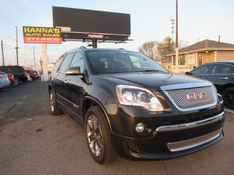 2012 GMC Acadia for sale at Hanna's Auto Sales in Indianapolis IN