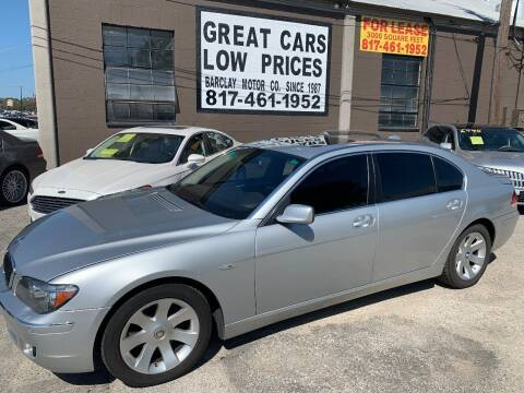 2006 BMW 7 Series for sale at BARCLAY MOTOR COMPANY in Arlington TX
