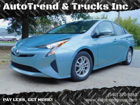 2018 Toyota Prius for sale at AutoTrend & Trucks Inc in Fredericksburg VA
