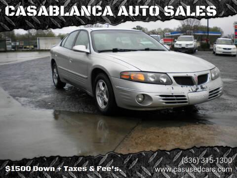 2001 Pontiac Bonneville for sale at CASABLANCA AUTO SALES in Greensboro NC