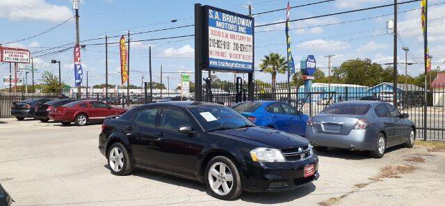 2012 Dodge Avenger for sale at S.A. BROADWAY MOTORS INC in San Antonio TX
