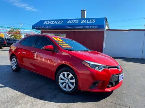 2016 Toyota Corolla for sale at Gonzalez Auto Sales in Joliet IL
