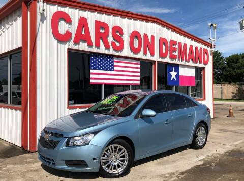 2012 Chevrolet Cruze for sale at Cars On Demand 2 in Pasadena TX