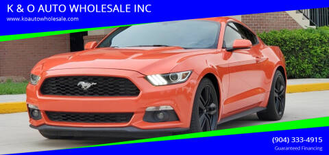 2015 Ford Mustang for sale at K & O AUTO WHOLESALE INC in Jacksonville FL