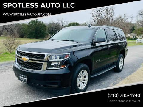 2016 Chevrolet Tahoe for sale at SPOTLESS AUTO LLC in San Antonio TX