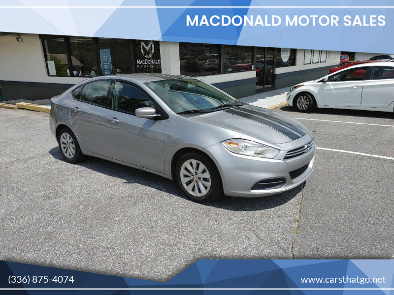 2015 Dodge Dart for sale at MacDonald Motor Sales in High Point NC