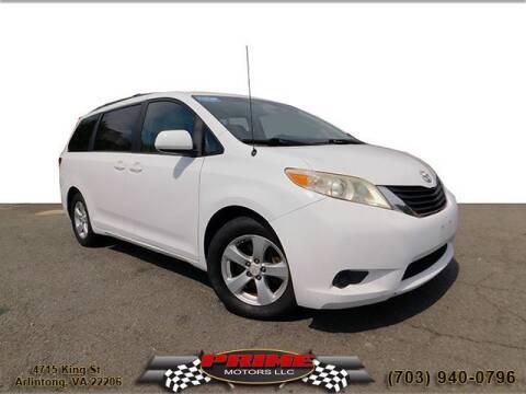 2012 Toyota Sienna for sale at PRIME MOTORS LLC in Arlington VA