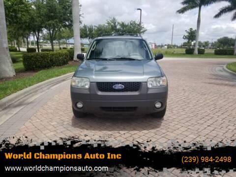 2006 Ford Escape for sale at Used Cars Cape Coral -- World Champions Auto Inc in Cape Coral FL