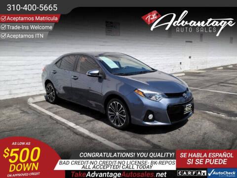 2016 Toyota Corolla for sale at ADVANTAGE AUTO SALES INC in Bell CA