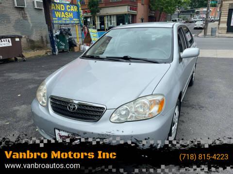 2005 Toyota Corolla for sale at Vanbro Motors Inc in Staten Island NY