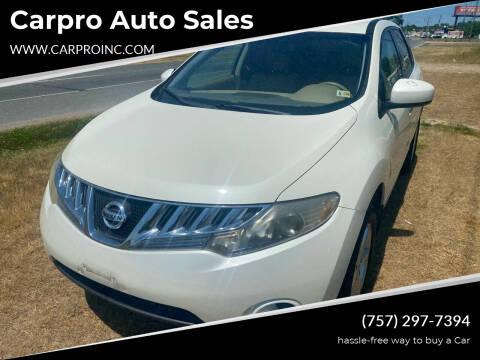 2009 Nissan Murano for sale at Carpro Auto Sales in Chesapeake VA