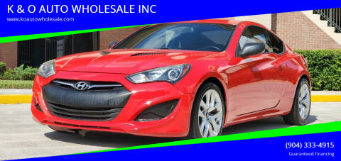 2013 Hyundai Genesis Coupe for sale at K & O AUTO WHOLESALE INC in Jacksonville FL