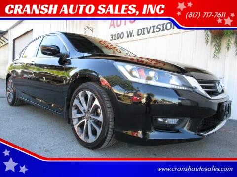 2014 Honda Accord for sale at CRANSH AUTO SALES, INC in Arlington TX