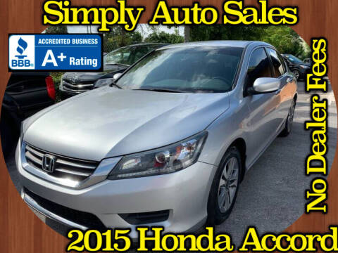 2015 Honda Accord for sale at Simply Auto Sales in Palm Beach Gardens FL