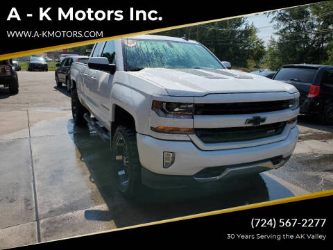 2017 Chevrolet Silverado 1500 for sale at A - K Motors Inc. in Vandergrift PA