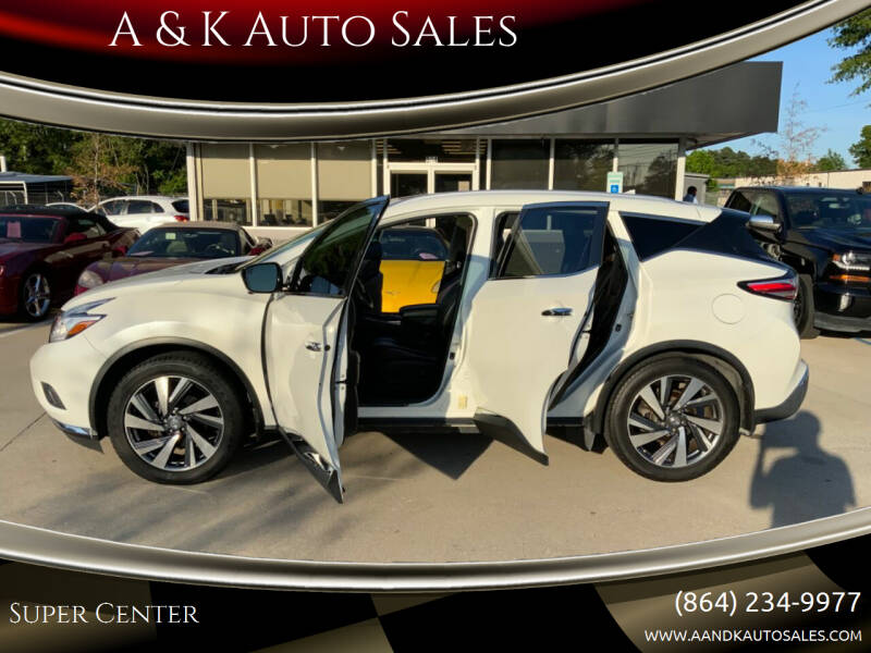 2015 Nissan Murano for sale at A & K Auto Sales in Mauldin SC