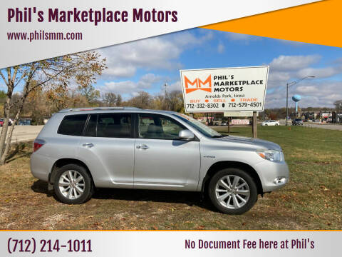 2008 Toyota Highlander Hybrid for sale at Phil's Marketplace Motors in Arnolds Park IA