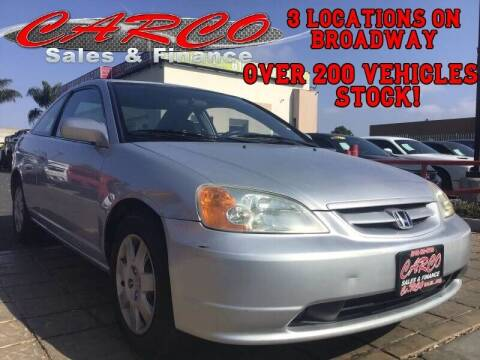 2002 Honda Civic for sale at CARCO SALES & FINANCE #2 in Chula Vista CA