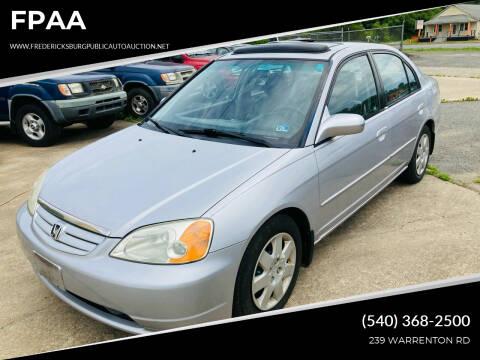 2002 Honda Civic for sale at FPAA in Fredericksburg VA