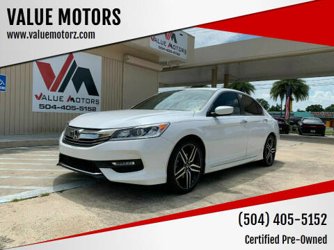 2016 Honda Accord for sale at VALUE MOTORS in Kenner LA