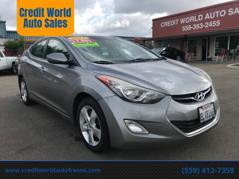 2012 Hyundai Elantra for sale at Credit World Auto Sales in Fresno CA