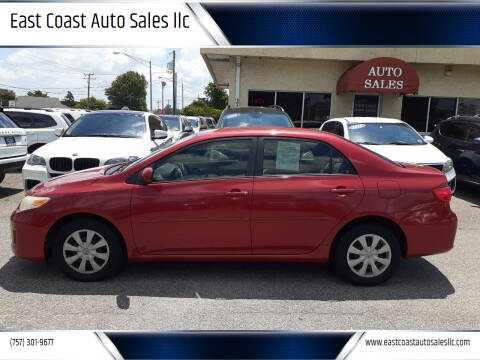 2011 Toyota Corolla for sale at East Coast Auto Sales llc in Virginia Beach VA