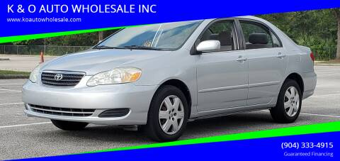 2005 Toyota Corolla for sale at K & O AUTO WHOLESALE INC in Jacksonville FL