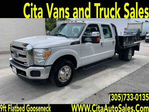 2015 FORD F350 SD DRW CREW CAB 9 FT FLATBED GOOSENECK for sale at Cita Auto Sales in Medley FL
