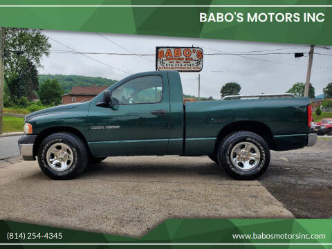 2002 Dodge Ram Pickup 1500 for sale at BABO'S MOTORS INC in Johnstown PA