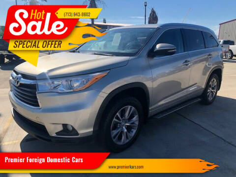 2014 Toyota Highlander for sale at Premier Foreign Domestic Cars in Houston TX